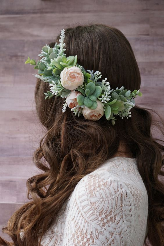 Succulent flower crown, blush peony flower headband, greenery headpiece, bridal flower crown by WelcomingGraceCrafts on Etsy
