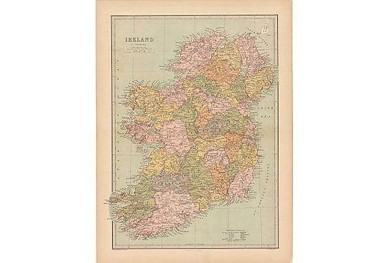Map of Ireland, 1873 on OneKingsLane.com