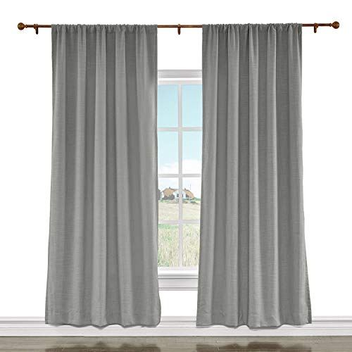 Cololeaf Luxury Faux Linen Curtain Rod Pocket Drapery Panel For