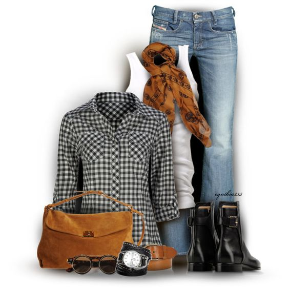 Fall Outfit: Weekend Outfit, Gingham Shirt, Fall Outfits, Fashionista Trends, Gingham Fashionista, Fall Winter, Outfits Gingham, Casual Fall Fashion