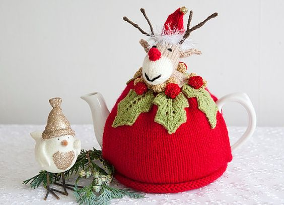 Christmas Tea Cosy Red Rudolph Reindeer by CrystalMoonCat on Etsy: