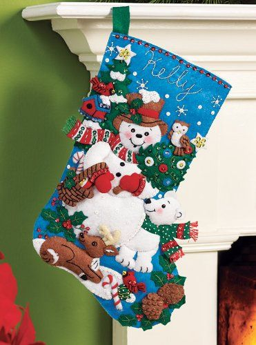 Bucilla 86438 Felt Applique Stocking Kit (16-Inch), Snow Friends