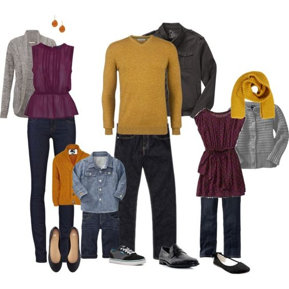 Plum, mustard yellow and grey clothing. Great combination for a fall family photo session