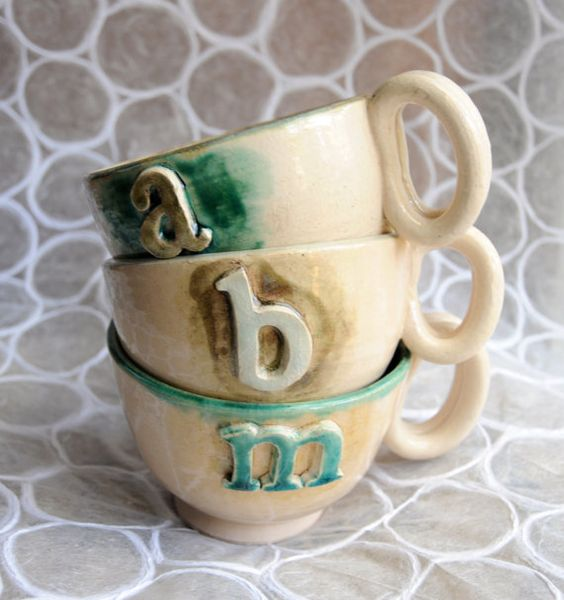 anthropologie style handmade alphabet letter mugs by sweetceladon 3200