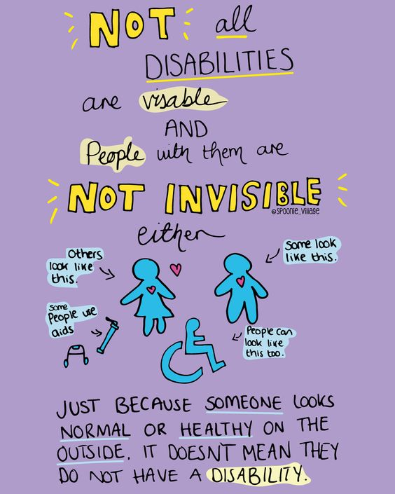 Never judge a book by its cover, the same goes for humans. No one knows what's happening on the inside. Disabilities come in all forms and do not have to match the common perception of what disability looks like.