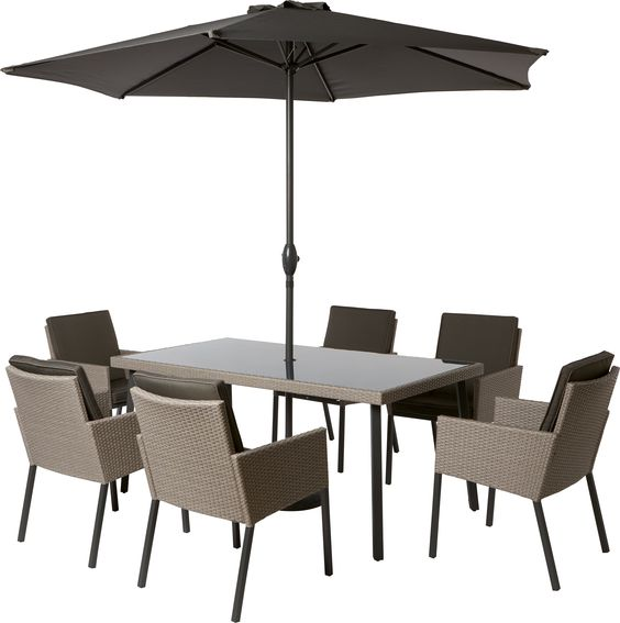 Palermo 6 Seater Rattan Effect Garden Furniture Set dinning set