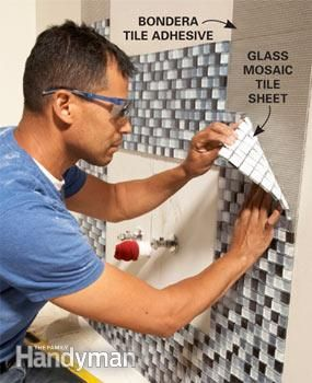 One Weekend Bathroom Remodel  sticky adhesive pads to attache the tiles