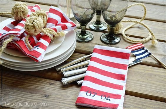 Nautical 4th of July: painted stripe napkins tutorial and monkey fist knot napkin ties.