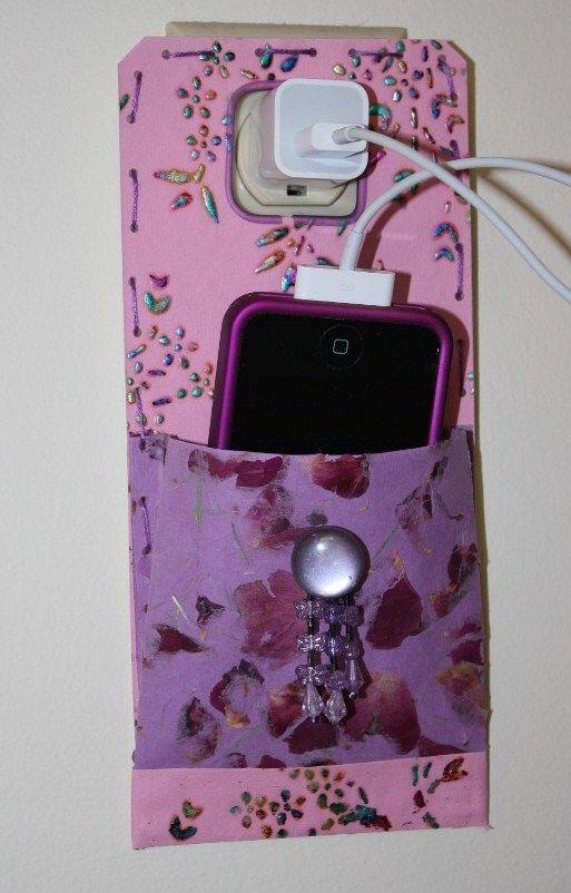 Pretty paper phone charging case.