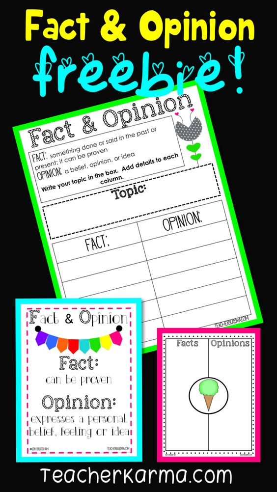 FREE Fact and Opinion Mini-Kit for the elementary classroom.  Use this freebie to improve comprehension.  TeacherKarma.com