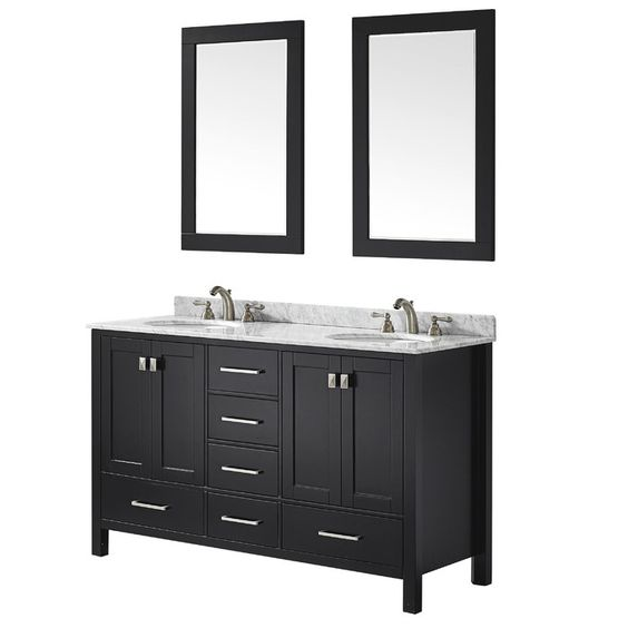 "You'll love the Bradford 60"" Double Bathroom Vanity Set with White Stone Top and Mirror at Wayfair - Great Deals on all Home Improvement  products with Free Shipping on most stuff, even the big stuff."