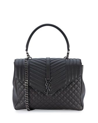 Saint Laurent tri-quilted calfskin leather shoulder bag. Top handle with chain…