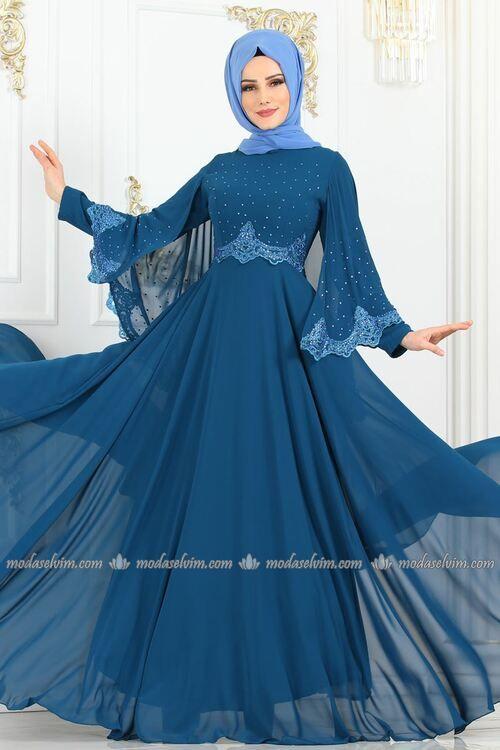 Modaselvim Abiye Tas Pelerinli Sifon Abiye 3022sm221 Indigo Balo Elbiseleri Abaya Tarzi Moda Stilleri