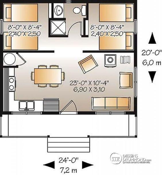 Plan de Rez-de-chaussée Petit chalet récréatif ou camps de chasse ou de pêche, poêle à bois, 2 chambres, aire ouverte, prix économique - Le Relais