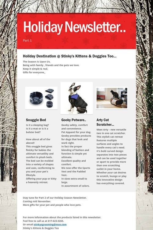 Pet Holiday Newsletter  Ask Ms Stinky