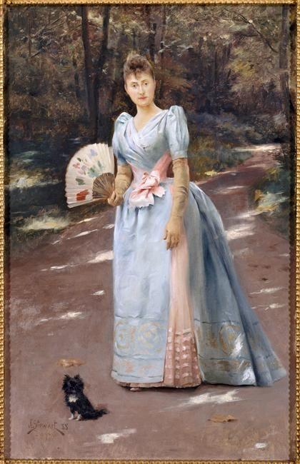 Femme dans un jardin by Julius Leblanc Stewart, 1888, Château Compiègne: