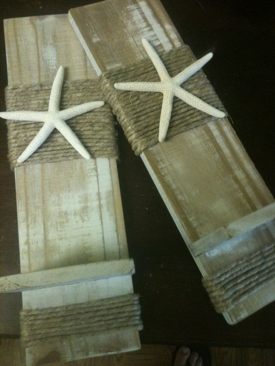Reclaimed Upcycled White Washed Wooden Plank Starfish Sconces - Wall Decor - Set of 2 - Beach Cottage - Home Decor - Nautical