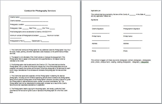 Photography Services Contract Tips \ Tricks Business - photography services contract