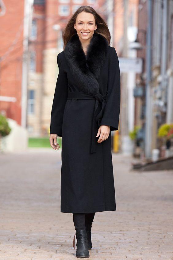 Bernice Loro Piana Wool Wrap Coat with Fox Fur Trim | Coats Warm
