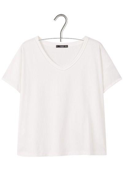 Tee-shirt col V court en coton Blanc by MANGO 9.99