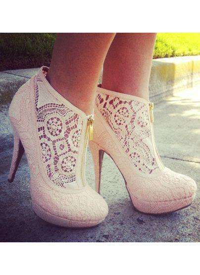 Zippered Lace Heels / Booties