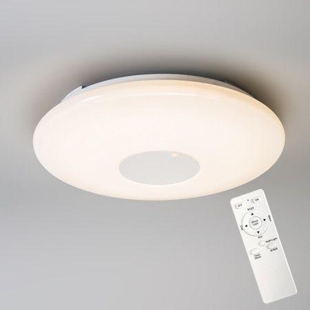 Deckenleuchte Punto weiß: Einfache und moderne Deckenleuchte mit einer schmalen Kunststoff-Abdeckung. Die Lampe bietet Ihnen die Möglichkeit, mit der mitgelieferten Fernbedienung die Beleuchtung zu verändern z. B. können Sie die Lampe dimmen um eine perfekte Amtmospähre in Ihrem Haus oder Büro zu schaffen. Dank des LED-Moduls kann das Licht von warmweiß nach kaltweiß umgeschaltet werden. #briloner #lampen #leuchten #innenbleuchtung