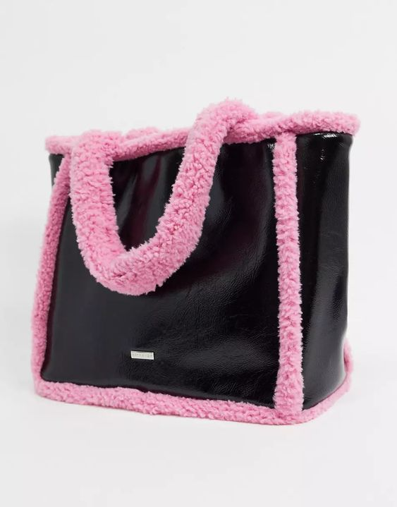Skinnydip borg trimmed tote bag in black and pink