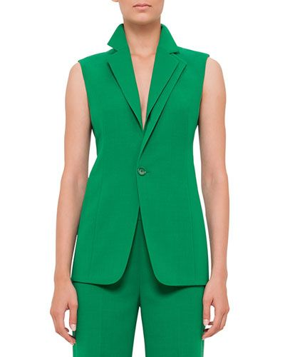 B37YH Akris One-Button Double-Lapel Gilet, Bonsai