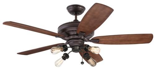 """Emerson Ceiling Fan Model CF788ORB-B78WA-F440ORB-VB100ORB, A TOP CHOICE, CUSTOMIZABLE WITH MANY SHADE OPTIONS. Nearly flush w/optional CFDR25 (2.5"""" ROD sold separately); a variation of the white one."""
