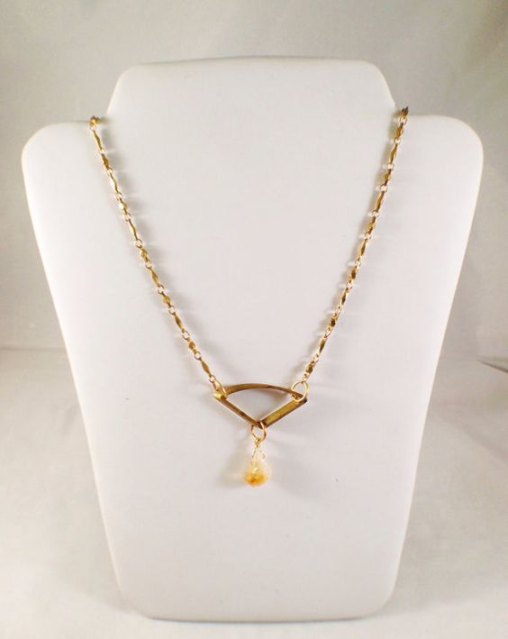 Raw Citrine Stone on Vintage Inspired Chain by LieselLove on Etsy, $30.00