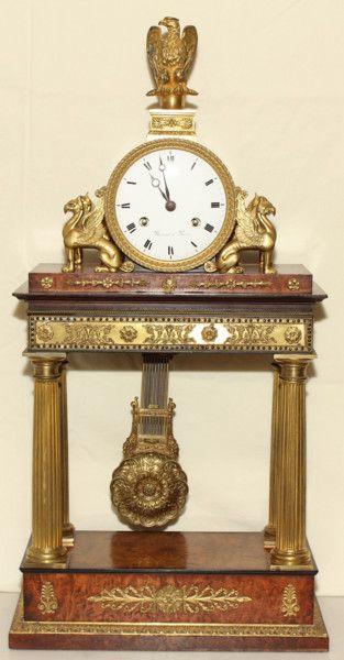 Unusual Burr Walnut and Ormolu French Mantel Clock (France) ca.1830.