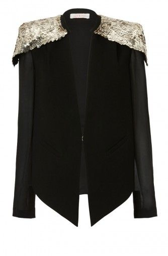 THE STARRING ROLEcaplet style jacket with embellished shoulders