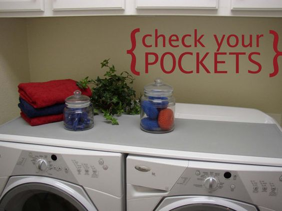 Laundry Room check your pockets Vinyl Wall by circlelinestudio, $21.00