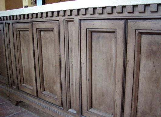 Rustoleum weathered gray stain on knotty alder cabinets for Black washed kitchen cabinets