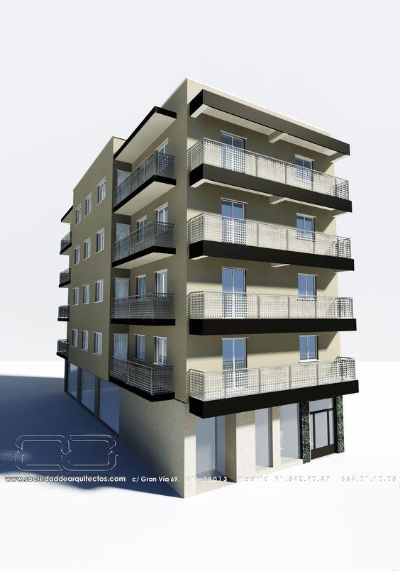 Edificios Moderno Balcon Exterior Puertas Dibujos Fachada