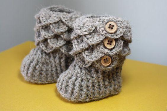 6-12 months, Alpaca Crochet Baby Booties, Made to Order, Premium Alpaca rose grey yarn, quality wood buttons, Heirloom