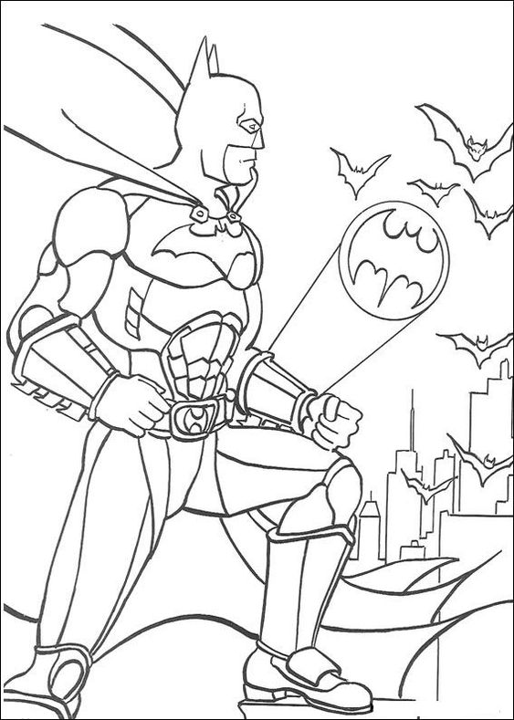 Batman On A Roof Coloring Page