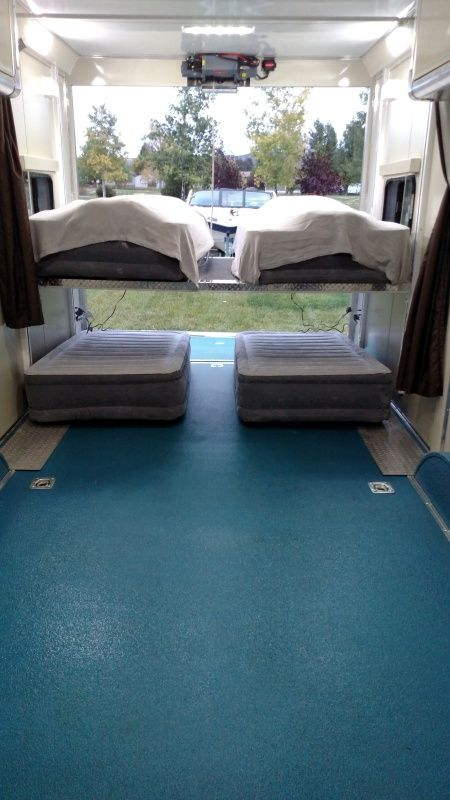 4 Twin Beds With Happy Jack Lift Bed In Toy Hauler Custom Toy Hauler Travel Trailer