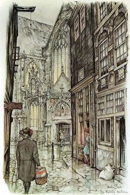 Anton Pieck (1895-1987) was a Dutch painter and graphic artist. The work of Anton Pieck contains paintings in oil and watercolour, etchings, woodcarvings, engravings, litho's, travel-drawings and textbook- illustrations. His works are noted for their nostalgic or fairytale-like character and are widely popular, appearing regularly on cards and calendars.: