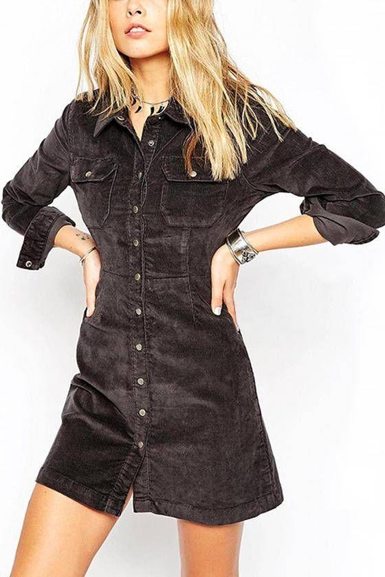 Grey A-line Western Denim Shirt Dress - US$31.95 -YOINS