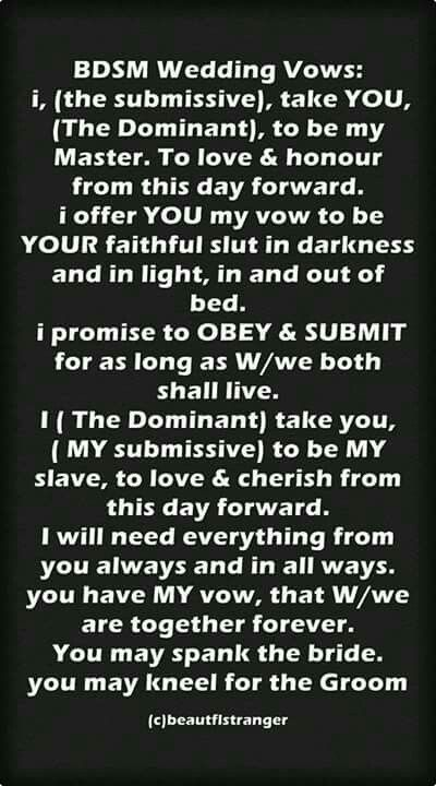 Bdsm Wedding Vows 66