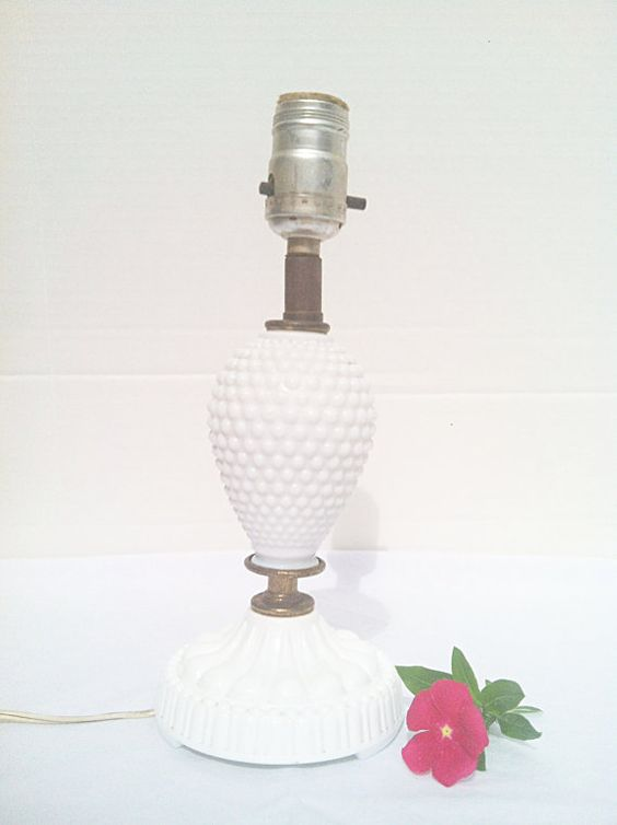 Vintage 1950s Hobnail Milk Glass Boudoir Lamp by NonabelleVintage, $20.00