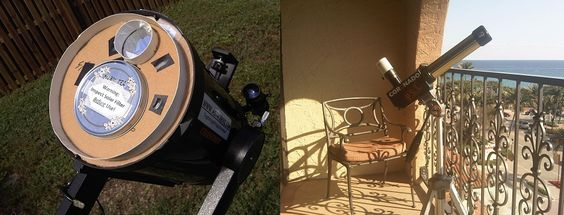 Safe ways to observe the Sun: a homemade whitelight filter (left) and a Coronado PST solar telescope (right).