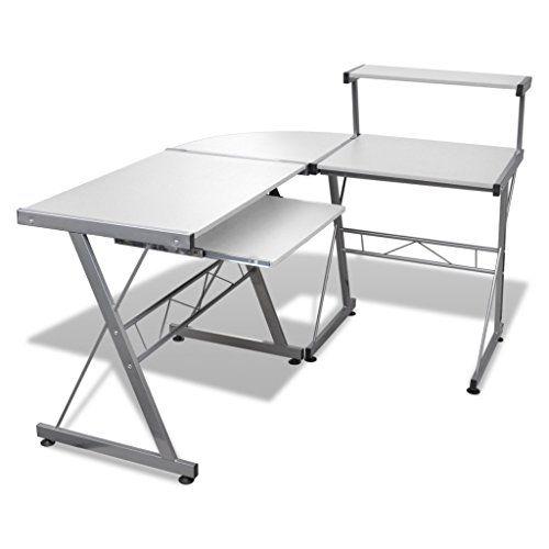Anself 3 Piece Corner Desk Computer Desk With Pull Out Keyboard Tray White Pc Desk Desk Design Home Office Computer Desk