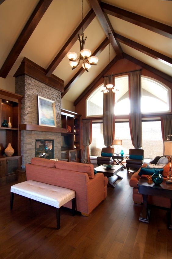 Vaulted ceilings great rooms and bungalows on pinterest for Vaulted ceiling great room