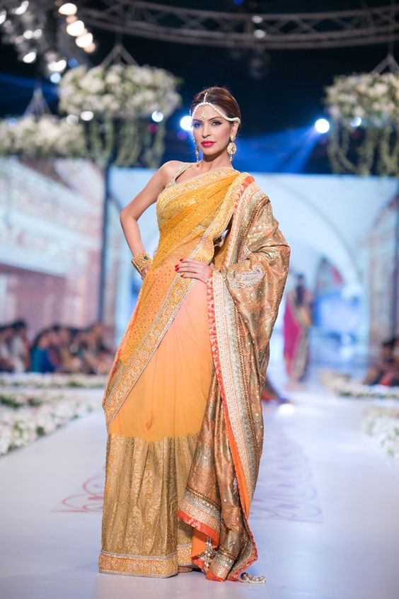 Yellow Banarsi saree by Deepak Parwani