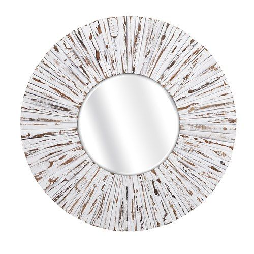 Beach Cottage Distressed This Large 36 D Round Wooden Mirror Is Complete In A Soft Off White Painted Finish Wooden Mirror Round Mirror Decor Circular Mirror
