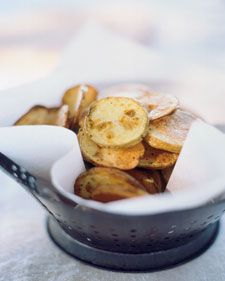 Avoid stirring or turning the potatoes as they bake on each side. Moving them around will cause them to stick, tearing the crispy surface from the chip.