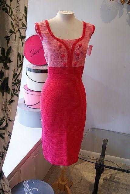 Early 60's Italian knit wiggle dress in shocking pink.