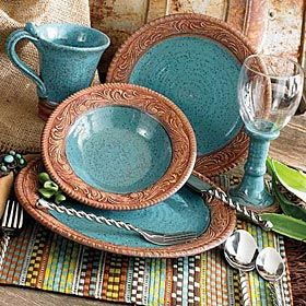 """dishes from King Ranch...for you """"western"""" themed gals tables"""